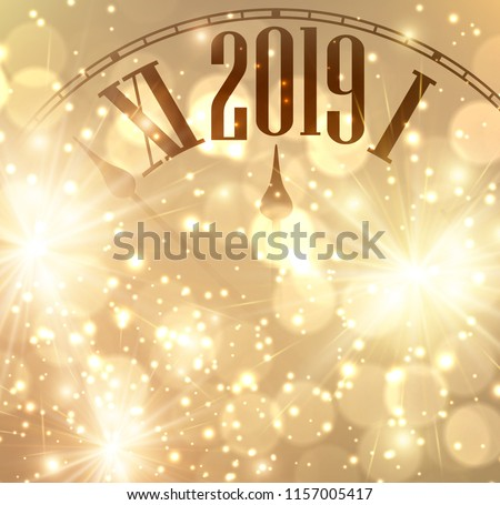 golden shining 2019 new year background with clock vector illustration