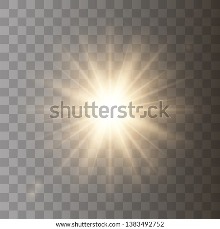 Golden shining vector sun with transparent rays. Yellow detonation effect. Sun flash with rays and spotlight. Star burst with sparkles on transparent background.