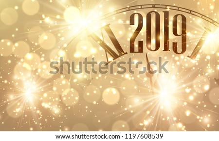 Golden shiny bokeh New Year 2019 poster with clock and lights. Vector background.