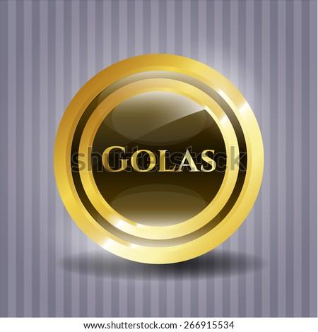 Golden shiny emblem with text