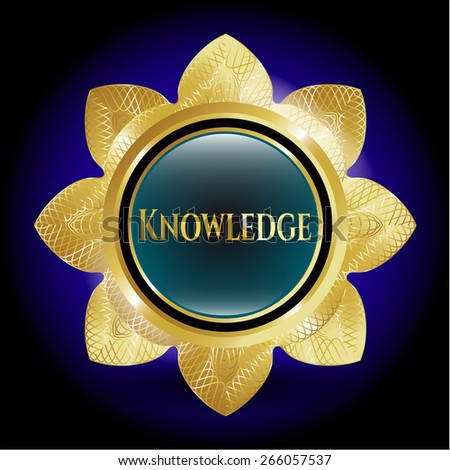 Golden shiny flower with text knowledge inside