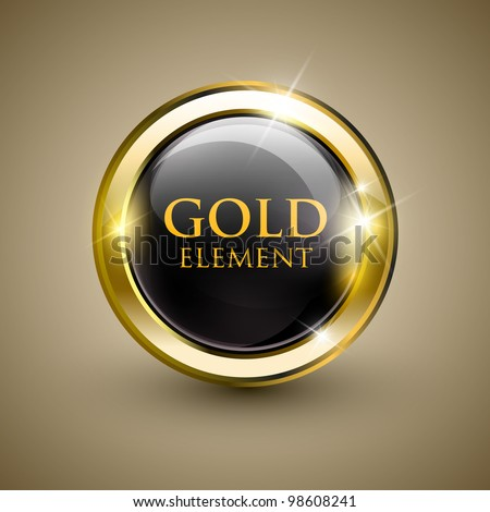 Golden shiny modern element. Golden Web button. Vector sticker. Part of set.