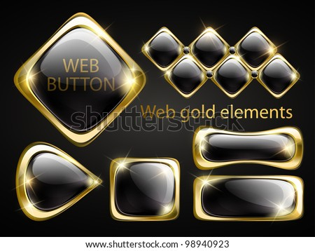 Golden shiny modern elements. Golden web buttons. Vector stickers. Part of set.