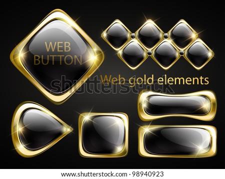 Golden shiny modern elements. Golden web buttons. Vector stickers. Part of set. - stock vector