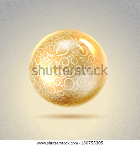 Golden shiny perl. Golden sphere. Vector illustration, contains transparencies, gradients and effects.