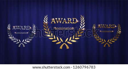 Golden, silver and bronze award signs with laurel wreath isolated on blue curtain background. Vector award design templates