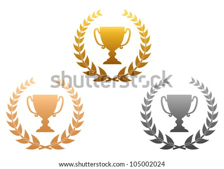 Golden, silver and bronze awards with laurel wreath for sports design, such logo. Jpeg version also available in gallery