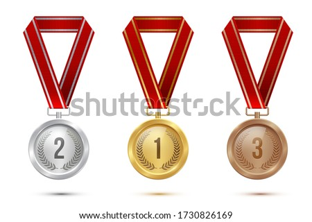 Golden, silver and bronze blank medals hanging on red ribbons isolated on white background. Vector sports illustration Stockfoto ©