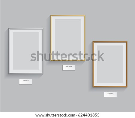 Golden, silver and bronze frames isolated on grey background. Vector illustration. Podium frames. #624401855