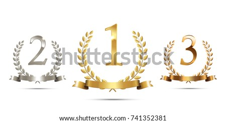 Golden, silver and bronze laurel wreaths with ribbons and first, second and third place signs isolated on white background. Winner podium sports symbols. Vector illustration.