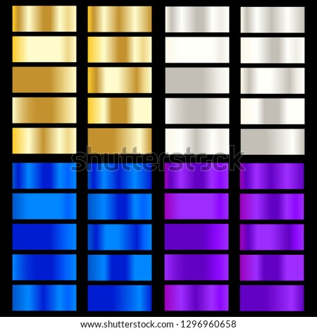 Golden, silver, blue, purple gradient. Collection of colorful gradients with  glossy metal texture for design of covers, banners, posters and other creative projects.