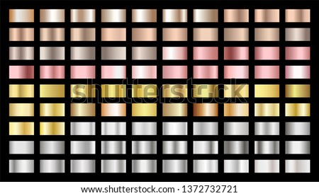 Golden, silver, bronze, rose gold gradients vector set. Metallic foil texture silver, steel, chrome, platinum, copper, bronze, pink gold gradient swatches. Shiny metallic collection graphic design
