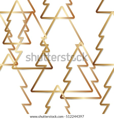 golden simple outline trees