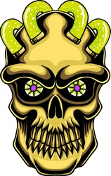 golden skull head with pipes of green liquid