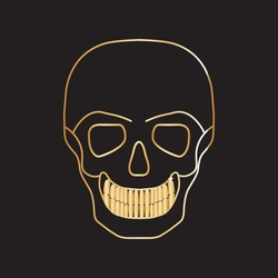 Golden Skull . Linear vector illustration isolated on black background.