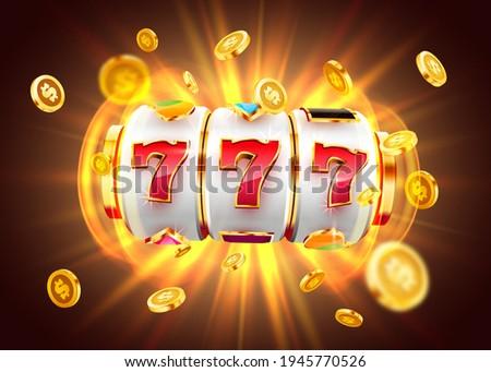Golden slot machine wins the jackpot. 777 Big win concept. Casino jackpot. Vector illustration