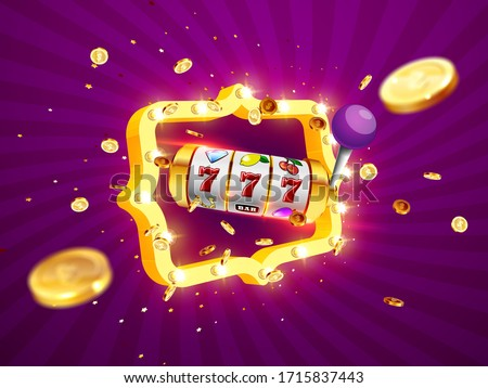 Golden slot machine wins the jackpot 777 on on the background of an explosion of coins and retro frame. Vector illustration