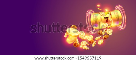 Golden slot machine wins the jackpot 777 on the background of an explosion of coins. Vector illustration Stockfoto ©