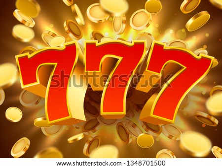 Golden slot machine 777 with flying golden coins wins the jackpot. Big win concept. Vector illustration