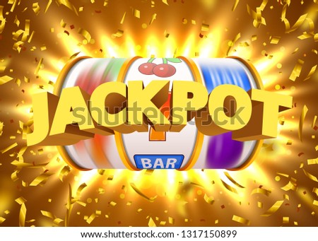 Golden slot machine with flying golden confetti wins the jackpot. Big win concept. Vector illustration