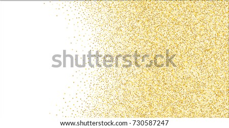 Golden small confetti on white background. Luxury festive New Year background. Gold shiny abstract texture. Element of design. Vector illustration, EPS 10.
