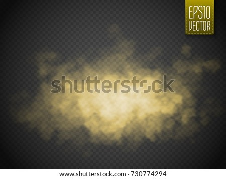 Golden smoke isolated transparent special effect. Yellow vector cloudiness, mist or smog background. Vector illustration