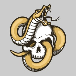 Golden snake entwined with human skull template in vintage style isolated vector illustration