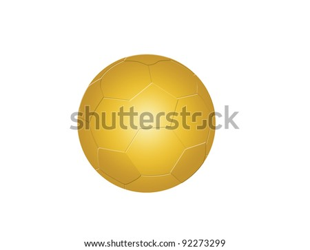 Golden soccer ball on white background, vector illustration