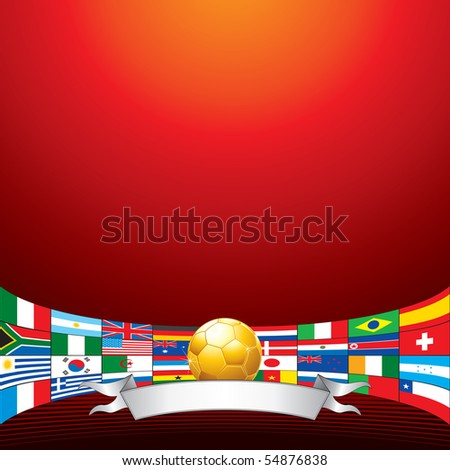 Golden soccer ball with all flags of qualified teams
