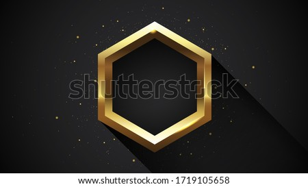Golden sparkling hexagon with long shadow isolated on dark background. Vector golden frame. ストックフォト ©