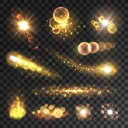 Golden sparkling light trails. Sparkling glitter flashes. Shining particles with sparkler tails. Burning fire flame. Lens flare effect on transparent background