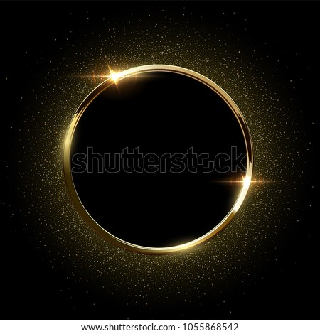 Golden sparkling ring with golden glitter isolated on black background. Vector golden frame.