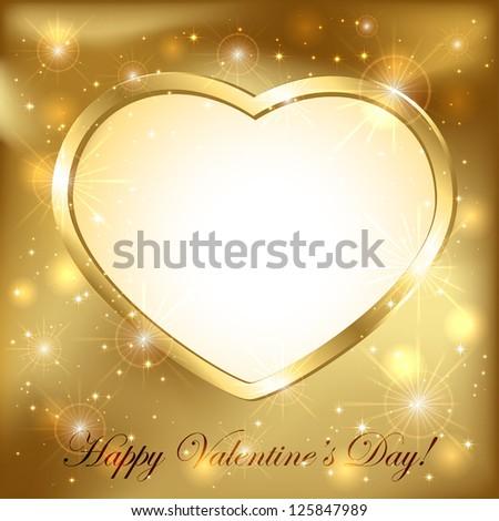 Golden sparkling valentines background with golden heart, illustration.