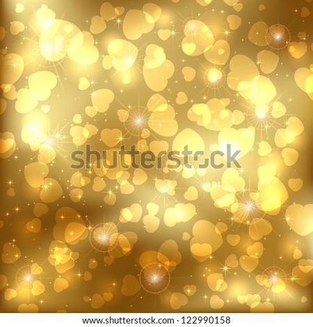 Golden sparkling valentines background with heart, illustration.