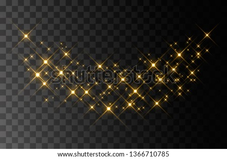 Golden sparks and golden stars sparkle with a special light effect. Vector glitters on a transparent background. Christmas abstract pattern. Glittering particles of magical dust