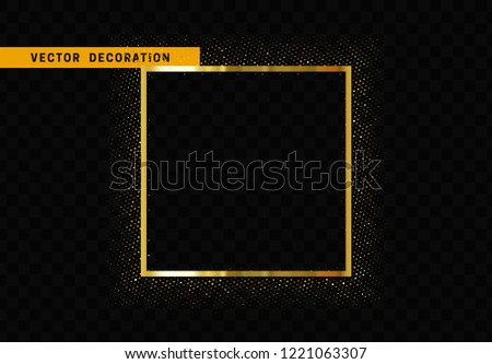 Golden square frame isolated on transparent background. Glitter border shining particles, of light effects