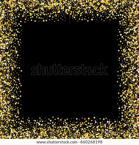 golden square frame on black background gold glitter background