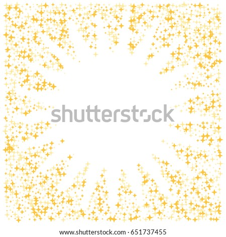 Golden star burst square border with place for text, sparkles glitter vector frame, white background. Stardust cosmic graphic design with gold night sky objects. Shining starlight.