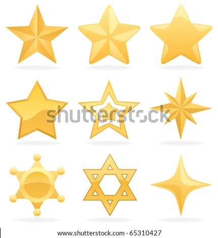 Golden Star Icons: 9 Golden star icons. No transparency used. Basic (linear) gradients used.
