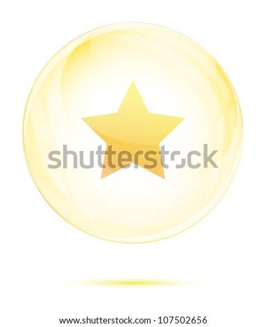 Golden star in the glass sphere on white