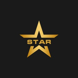 Golden star logo design template vector