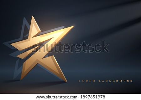 Golden star on dark background with light effect