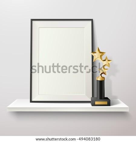 Golden star trophy and blank frame on white shelf on white background vector illustration