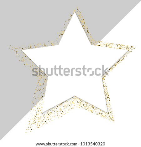 Golden star vector banner on white background. Gold glitter star. Gold template star for banner card vip exclusive certificate gift luxury privilege voucher store present shopping