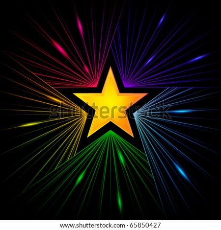golden star with colorful rays of starlight