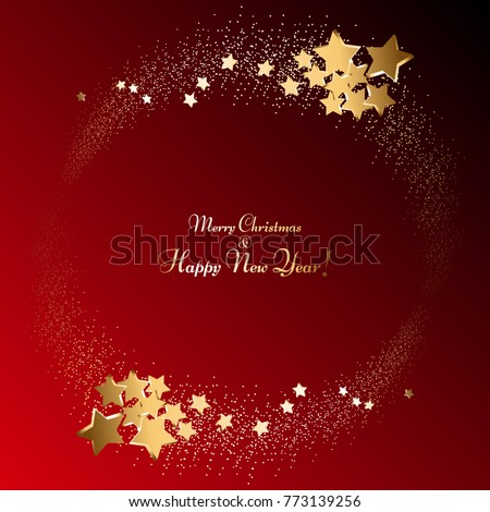 Golden stars and sparkles on a red background. Glowing ball. Fireworks. Merry Christmas and Happy New Year! #773139256