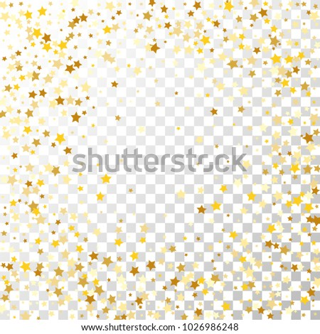 Golden Stars Background. Beautiful Falling Golden Stars Confetti. Abstract Decoration for Party, Birthday Celebrate, Anniversary or Event, Festive. Vector illustration #1026986248