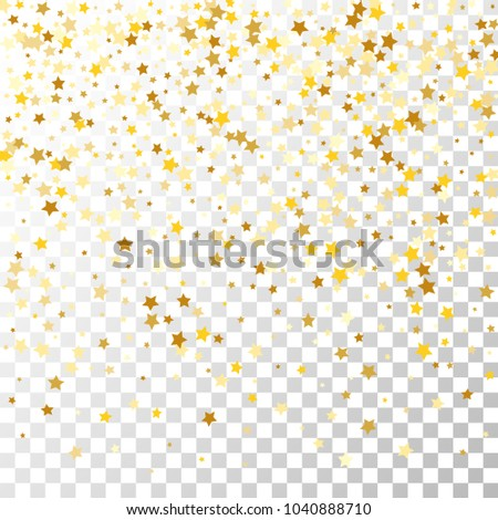 Golden Stars Background. Beautiful Falling Golden Stars Confetti. Abstract Decoration for Party, Anniversary or Event,  Birthday Celebrate, Festive. Vector illustration #1040888710