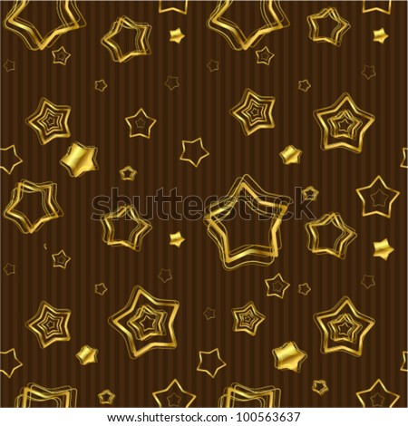 Golden stars background. Seamless vector.