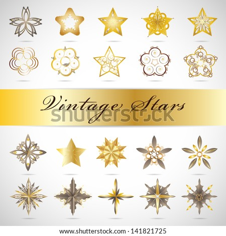 Golden Stars Set Isolated On Gray Background Vector Illustration Graphic Design Editable For Your Design Stars Logo